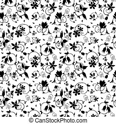 Vector Black White Swirl Floral Texture Seamless Pattern