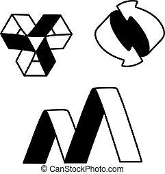 Vector black white symbols - sign, icon, pictogram