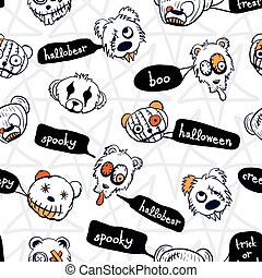 Vector black white teddy seamless pattern halloween
