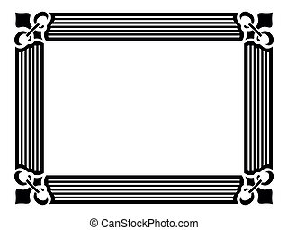 wide frame royal lily in corner - vector black wide frame ...