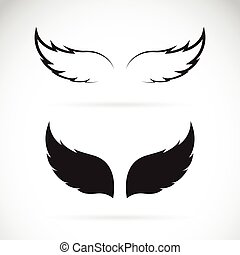 Vector black wing icon on white background