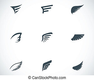Vector black wing icons set