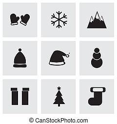 Vector black winter icons set