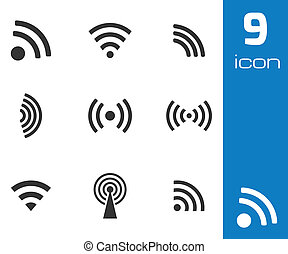 Vector black wireless icons set on white background
