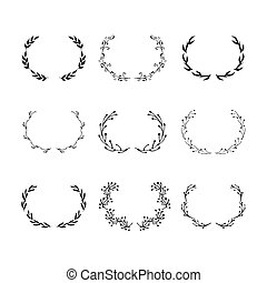 Vector black wreaths with leaf set isolated