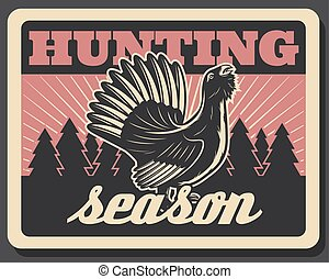 Vector blackcock retro poster for hunting season