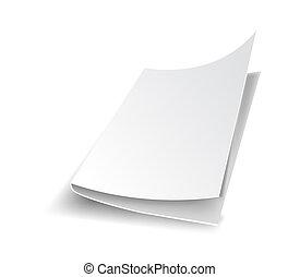 vector, blad, kantoor, papier, schaduw, leeg, witte
