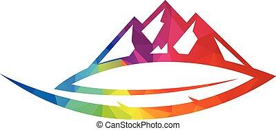 vector., blad, logo, berg, mal