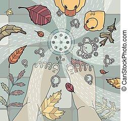 vector, bladeren, shower., illustratie