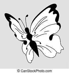 vector blanching butterfly on gray background
