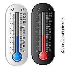 vector, blanco, black., termómetro