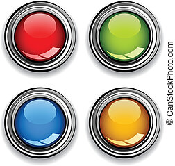 vector, blanco, cromo, brillante, botones