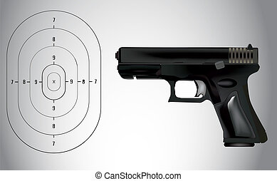 vector, blanco, ilustración, arma de fuego