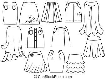 vector, blanco, mujer, moda, faldas