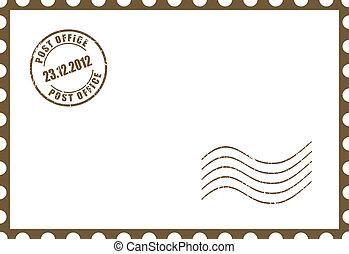 vector, blanco, postal