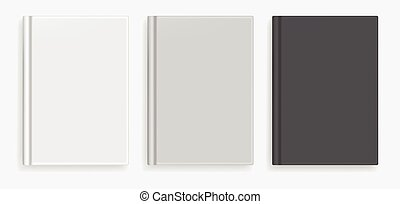 Vector blank black and white realistic book mockup