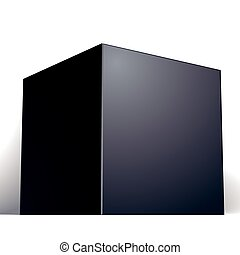 Vector blank black box isolated on white background, template fo