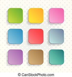 Vector blank colorful rounded square web buttons