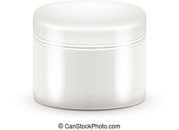 Vector Blank Cosmetic Container for Cream, Powder or Gel. White color.