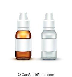Vector Blank Glass Medical Spray Bottle Isolated