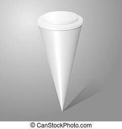 Vector blank ice cream cone package isolated on gray background, for your design.