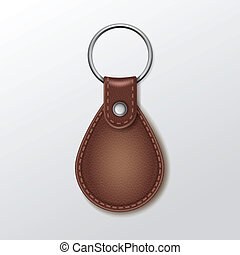 Vector Blank Leather Round Keychain with Ring for Key...
