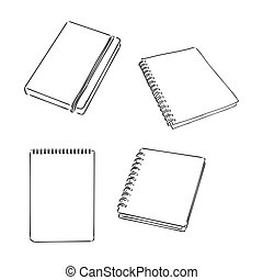 vector blank lined notebook . notepad vector sketch on a white background