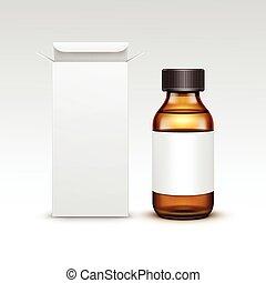 Vector Blank Medicine Medical Glass Bottle