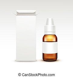 Vector Blank Medicine Medical Glass Spray Bottle