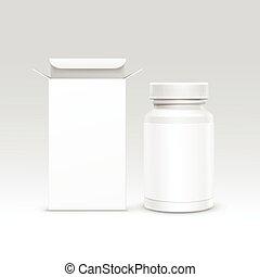 Vector Blank Medicine Medical Packaging Package Paper Box...