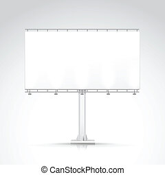 Vector Blank Outdoor Billboard with Place for Message and with Lighting Isolated on Background