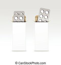 Vector Blank Package Box for Blister of Pills - Vector Blank...