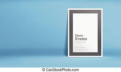 Vector, Blank Photo Frame in blue studio room, Template mock...