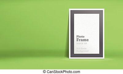 Vector, Blank Photo Frame in lime green studio room,...