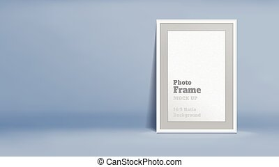 Vector, Blank Photo Frame in pastel blue studio room,...