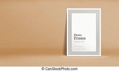 Vector, Blank Photo Frame in pastel brown studio room,...