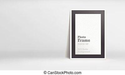 Vector, Blank Photo Frame in white studio room, Template...