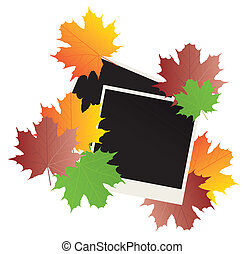 photos - vector blank photos and fall leaves