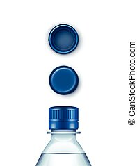 Vector Blank Plastic Blue Water Bottle Set of Caps Isolated