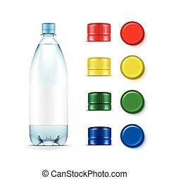 Vector Blank Plastic Blue Water Bottle with Set of Multicolored Red Yellow Green Caps Isolated on White Background
