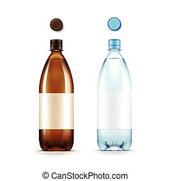 Vector Blank Plastic Brown and Blue Bottle with Set of Caps Isolated on White Background