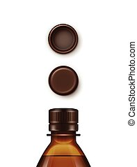 Vector Blank Plastic Brown Bottle Set of Caps Isolated
