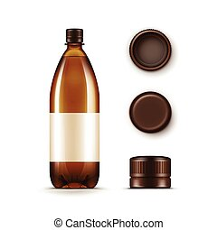 Vector Blank Plastic Brown Bottle with Set of Caps Isolated on White Background