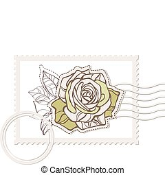 vector blank post stamp with rose