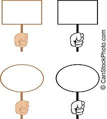 Vector blank signs - Cartoon hands with empty rectangular...