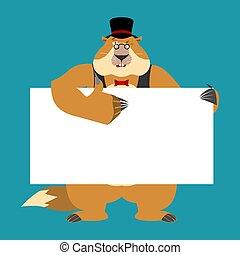 vector, blank., tenencia, sombrero, marmota, day., marmota, pulgar, text., blanco, bandera, alegre, emotion., marmota, guiños, lugar, arriba, ilustración