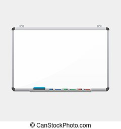Vector blank white board with colored markers