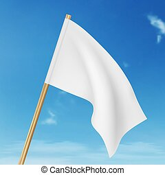 Vector blank white flying flag on a clear sky