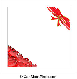 vector blank with hearts and ribbon vector