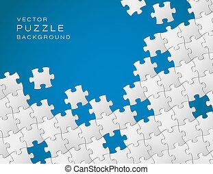vector, blauwe achtergrond, gemaakt, van wit, puzzelstukjes